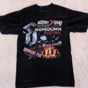 Faded concert t-shirt Buzzfest Shinedown Seether S
